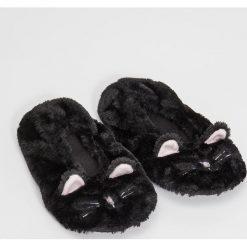 Kapcie damskie: Slippersy z uszami - Czarny