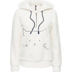 Bluzy polarowe: Bluza z polaru baranka z haftem bonprix biel wełny