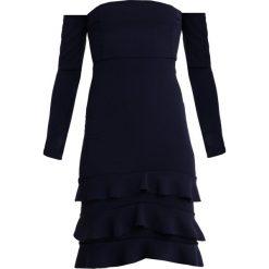 Sukienki: Missguided LONG SLEEVE BARDOT RUFFLE HEM MIDI Sukienka koktajlowa navy