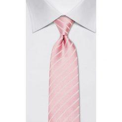 Krawaty męskie: Jedwabny krawat w kolorze jasnoróżowym – szer. 8 cm
