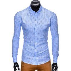 Koszule męskie na spinki: KOSZULA MĘSKA ELEGANCKA Z DŁUGIM RĘKAWEM K414 – BŁĘKITNA