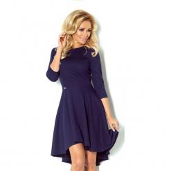 90-1 sukienka z rękawkiem 3/4 i dłuższym tyłem - granat. Niebieskie sukienki na komunię marki numoco, l. Za 144,00 zł.