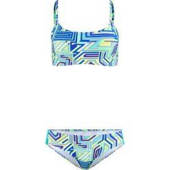 Bikini z biustonoszem opaską (2 części) bonprix niebiesko-turkusowo-żółty. Niebieskie bikini bonprix, z nadrukiem. Za 89,99 zł.