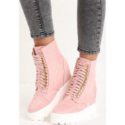 Różowe Sneakersy Snow White. Białe sneakersy damskie Born2be, z materiału. Za 79,99 zł.