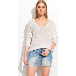 Swetry damskie: Ecru Dłuższy Miękki Sweter z Długim Rękawem