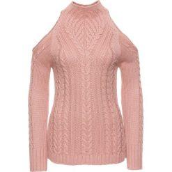 Sweter bonprix jasnoróżowy. Czerwone swetry klasyczne damskie bonprix, ze stójką. Za 89,99 zł.
