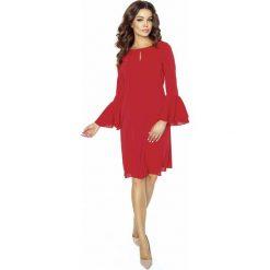 Sukienki balowe: Czerwona Sukienka Koktajlowa z Rozkloszowanym Rękawem