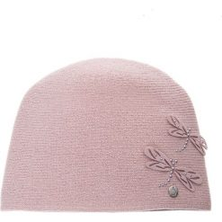 Różowa czapka z filcowymi ważkami QUIOSQUE. Czerwone czapki damskie QUIOSQUE, na zimę, z dzianiny. Za 89,99 zł.