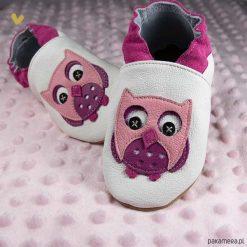 SKÓRZANE BUCIKI baBice sowa. Szare buciki niemowlęce chłopięce Pakamera, z materiału. Za 70,00 zł.