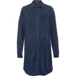 Sukienka z długim rękawem bonprix ciemnoniebieski. Niebieskie sukienki z falbanami bonprix, z długim rękawem. Za 109,99 zł.