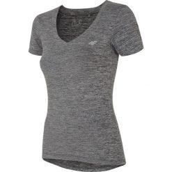 Koszulka treningowa damska TSDF300 - szary melanż. Szare bluzki damskie marki 4f, l, z elastanu, z dekoltem w łódkę. Za 49,99 zł.