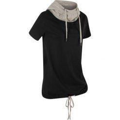 T-shirt bawełniany z kapturem i wiązaniem, krótki rękaw bonprix czarny. Czarne t-shirty damskie bonprix, z bawełny, z kapturem. Za 44,99 zł.