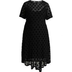 City Chic DRESS SPOT FLOCK Długa sukienka black. Czarne długie sukienki marki City Chic, z elastanu, z długim rękawem. Za 379,00 zł.