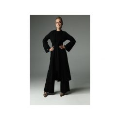 PŁASZCZ ROOT - CZARNY. Czarne płaszcze damskie Madnezz, s, w paski, z bawełny, biznesowe. Za 349,00 zł.