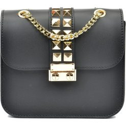 Torebki klasyczne damskie: Skórzana torebka w kolorze czarnym – 16 x 18 x 7 cm
