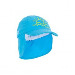 Czapka z daszkiem UV surfing dla malucha. Niebieskie czapki z daszkiem damskie marki OLAIAN, z materiału. W wyprzedaży za 12,99 zł.