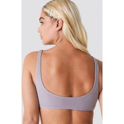 Stroje dwuczęściowe damskie: Galore x NA-KD Góra bikini z lureksu - Pink,Silver