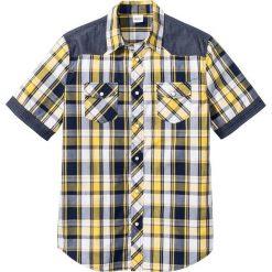 Koszula z krótkim rękawem Regular Fit bonprix żółty w kratę. Białe koszule męskie marki bonprix, z klasycznym kołnierzykiem, z długim rękawem. Za 32,99 zł.