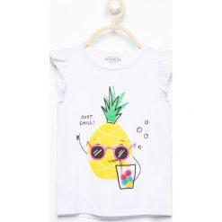 T-shirty damskie: T-shirt z falbankami – Biały
