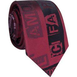 Krawat jedwabny KWAR009005. Czerwone krawaty męskie Giacomo Conti, z nadrukiem, z jedwabiu. Za 169,00 zł.