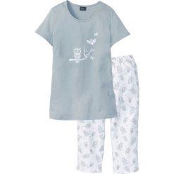 Piżamy damskie: Piżama bonprix srebrnoszaro-biały