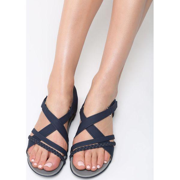 0e26f3d1 Granatowe Sandały Swallow - Niebieskie sandały damskie vices, na ...