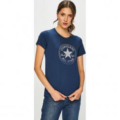 Converse - T-shirt. Szare t-shirty damskie marki Converse, l, z nadrukiem, z bawełny, z okrągłym kołnierzem. Za 129,90 zł.