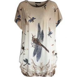 T-shirty damskie: Beżowy T-shirt Go Off