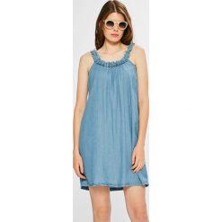 Vila - Sukienka Jazzy. Szare sukienki mini marki Vila, na co dzień, z lyocellu, casualowe, z okrągłym kołnierzem, na ramiączkach. W wyprzedaży za 129,90 zł.
