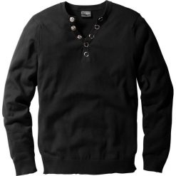 """Sweter """"Slim fit"""" bonprix czarny. Czarne swetry klasyczne męskie marki bonprix, l, z dekoltem w serek. Za 89,99 zł."""