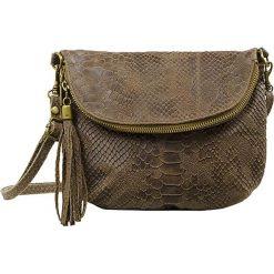 Torebki klasyczne damskie: Skórzana torebka w kolorze szarobrązowym – 22 x 18 x 3,5 cm