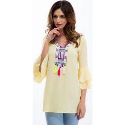 Żółta bluzka z kolorowym haftem 8516. Żółte bluzki na imprezę Fasardi, l, z haftami. Za 49,00 zł.