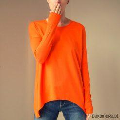 Wąski rękaw bluzka Pomarańczowa. Brązowe bluzki damskie marki Pakamera, z długim rękawem. Za 159,00 zł.