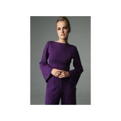 BLUZKA SLENDER - FIOLETOWA. Fioletowe bluzki z odkrytymi ramionami marki Madnezz, s, z bawełny, biznesowe, z dekoltem na plecach. Za 179,00 zł.