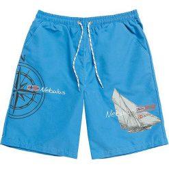 """Szorty kąpielowe """"Skanden"""" w kolorze niebieskim. Niebieskie szorty męskie marki Nebulus, z nadrukiem. W wyprzedaży za 65,95 zł."""