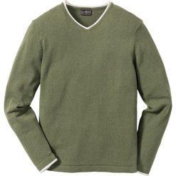 Swetry klasyczne męskie: Sweter z dekoltem w serek Regular Fit bonprix oliwkowy