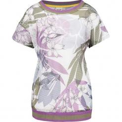 Koszulka w kolorze białym ze wzorem. Białe t-shirty damskie marki Taifun, w paski, prążkowane, z okrągłym kołnierzem. W wyprzedaży za 86,95 zł.