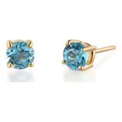 Kolczyki damskie: Wyjątkowe Złote Kolczyki – złoto żółte 375, Topaz swiss blue