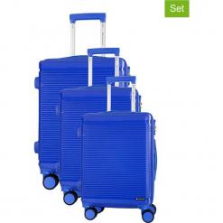 Zestaw walizek w kolorze niebieskim - 3 szt. Niebieskie walizki Platinium, z materiału. W wyprzedaży za 699,95 zł.
