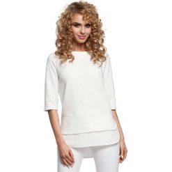 Ecru Dwuwarstwowa Bluzka z Rękawem do Łokcia. Białe bluzki wizytowe Molly.pl, l, z bawełny, biznesowe, z krótkim rękawem. Za 88,90 zł.