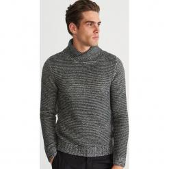 Gruby sweter z kołnierzem - Czarny. Czarne swetry klasyczne męskie marki Reserved, l. Za 159,99 zł.