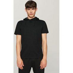 T-shirty męskie: T-shirt z kapturem – Czarny