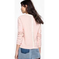 Dwukolorowa bluza, guziki z tyłu. Szare bluzy rozpinane damskie marki La Redoute Collections, m, z bawełny, z kapturem. Za 88,16 zł.