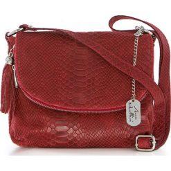 Torebki klasyczne damskie: Skórzana torebka w kolorze czerwonym – 28 x 20 x 8 cm