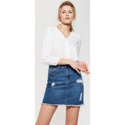 Bluzki asymetryczne: Gładka bluzka - Biały