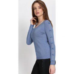 Ciemnoniebieski Sweter Reflecting. Szare swetry klasyczne damskie Born2be, l, dekolt w kształcie v. Za 74,99 zł.
