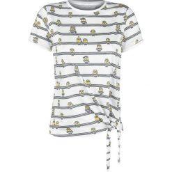 Minions Stripes Koszulka damska biały/czarny. Białe bluzki z odkrytymi ramionami Minions, xs, w kratkę, z okrągłym kołnierzem. Za 32,90 zł.