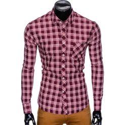 KOSZULA MĘSKA W KRATĘ Z DŁUGIM RĘKAWEM K419 - BORDOWA. Brązowe koszule męskie na spinki marki Ombre Clothing, m, z aplikacjami, z kontrastowym kołnierzykiem, z długim rękawem. Za 49,00 zł.