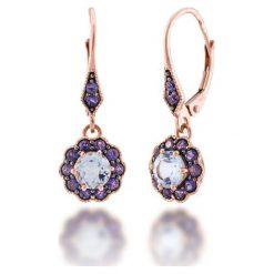 Kolczyki damskie: Złote Kolczyki – złoto różowe 585, Blue topaz