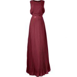 Sukienka plisowana bonprix ciemnoczerwony. Czerwone sukienki balowe bonprix, z okrągłym kołnierzem, bez rękawów. Za 189,99 zł.